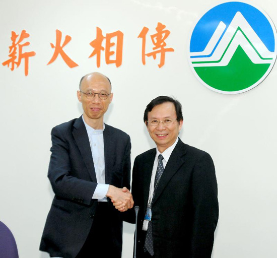 "Vice Chairperson of the Hong Kong-Taiwan Economic and Cultural Cooperation and Promotion Council, Mr Wong Kam-sing (left), calls on the ""Minister"" of the Taiwan Environmental Protection Administration, Mr Stephen Shu-Hung Shen (right), in Taipei on June 7 2013. They share experiences of implementing environmental policies in Hong Kong and Taipei."